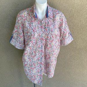 Plus Size Floral Paisley Collared Cotton Shirt